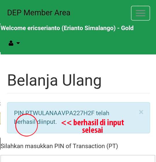 Cara Input PIN Member Amoorea